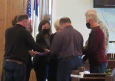 Prayer Shawl presentation to long-time church Treasurer, Bob Castellano